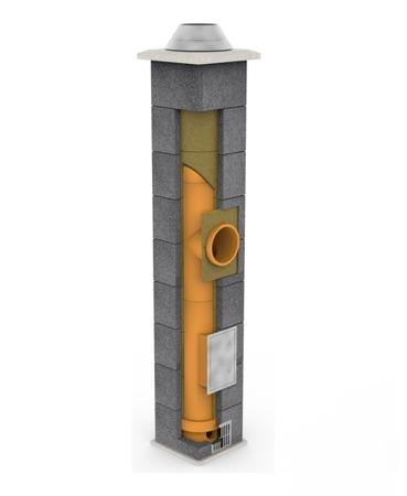 System kominowy KRUK UNIVERSAL 12M - poczwórna wentylacja - trójnik 45°