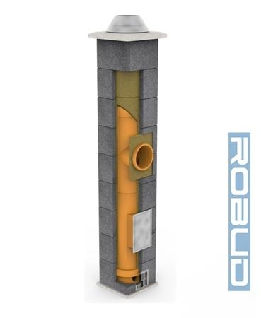 System kominowy KRUK UNIVERSAL 5M - poczwórna wentylacja - trójnik 45°